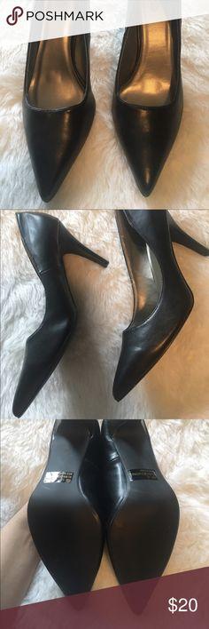 Black pumps Charlotte Russe black leather pumps. Never worn. 3 inch heel. Charlotte Russe Shoes Heels