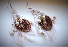 Vintage lace beaded earrings beaded gauze and lace by RawHemline