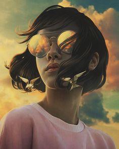"""surrealism At Perfection"": Haunting Illustrations Of Aykut Aydogdu - Art L'art Du Portrait, Digital Portrait, Art And Illustration, Arte Obscura, Digital Art Girl, Arte Pop, Pretty Art, Surreal Art, Aesthetic Art"