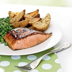 Salmon with Maple-Lemon Glaze | CookingLight.com - Finish the salmon under the broiler to caramelize the glaze into a tasty browned crust. Serve with roasted potato wedges and peas.