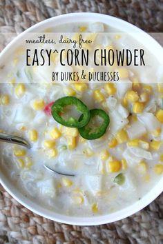 easy corn chowder  #ad #MeatlessMondayNight
