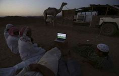 Men watch the 2014 World Cup soccer match between the Netherlands and Australia on a laptop at a camel market in Daba near Tabuk, Saudi Arabia.