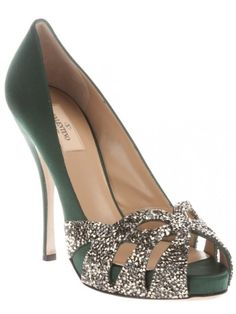 Valentino green silk embellished rhinestones silverpeep-toe....if only I had that kind of money