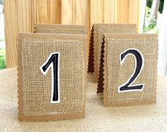 Burlap Wedding Table Number Cards, set of 30, Rustic Original Sewn Decoration, Custom Colors Available