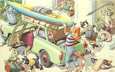 Mainzer Hartung Postcard 4977 Dressed Cats Packing Car for Vacation, Belgium