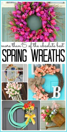 the best Spring Wreath ideas out there - love all of these!! Roundup - Sugar Bee Crafts