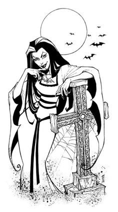 Lily Munster I the Munsters so i drew Lily for fun. Did this traditionally this time in pen and ink. Halloween Coloring Pages, Coloring Pages To Print, Coloring Book Pages, Printable Coloring Pages, Coloring Sheets, Lily Munster, Desenhos Halloween, The Munsters, Classic Monsters