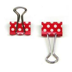 12 mini pinces à dessin rouge à pois blanc - La Fabrique du Canari