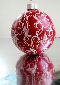 Red and White Christmas Ornament Hand Painted by PearlesPainting, $65.00