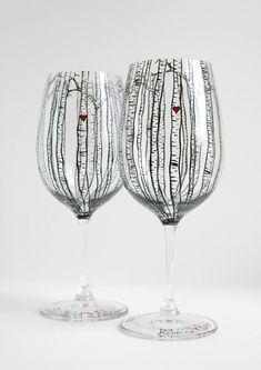 Birch Tree Toasting Glasses  Set of 2 Hand di MaryElizabethArts, $86.00