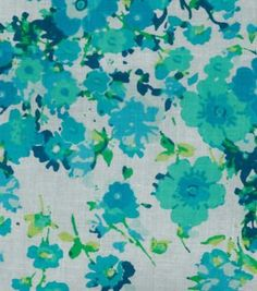 Fashion Cotton Fabric Lawn Floral Spray Teal Mint Cotton