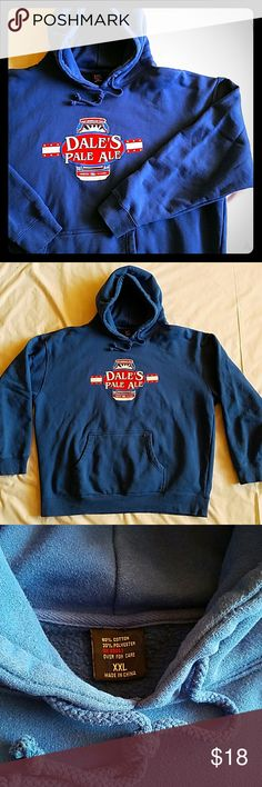 """Dale's Pale Ale Blue Hoodie Sweatshirt Dale's Pale Ale Blue Hoodie Sweatshirt - High quality UNISEX hoodie with front pouch, has classic Dale's Pale Ale logo from Oskar Blues Brewery on front and says """"A Quality CANjugal Visit"""" on back. This sweatshirt is no longer available from the brewery! Approx measurements: 27.5"""" pit-to-pit, 26"""" front collar to hem. 80% cotton, 20% polyester. Machine wash warm. In beautiful gently used condition. Show your super fandom! Tops Sweatshirts & Hoodies"""