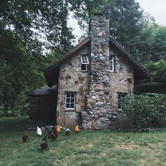 stone chimney farmhouse chickens country pastoral pretty rustic house