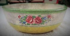 VINTAGE 1940'S EARLY POST WWII JAPANESE EARTHENWARE PORCELAIN BOWL COTTAGE CHIC