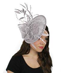5db00344b991c Galina Ascot Fascinator Hat With Headband - Metallic Silver: Amazon.co.uk:  Clothing