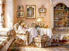 'Nursery Rhymes' by American painter and illustrator Trisha Romance. Although Romance was born in the United States, she is a long-time Canadian resident and considered one of Canada's best watercolor artists. Trisha Romance, Romance Art, Canadian Painters, Canadian Artists, Munier, Watercolor Artists, Children's Book Illustration, Mother And Child, Nursery Rhymes