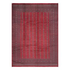 With a distinctive style, a gorgeous area rug from Pakistan will add some splendor to any decor. This Bokhara area rug is hand-knotted with a geometric pattern in shades of red, ivory, black, green, and peach.