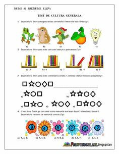 Test cultura generala Number Worksheets, Kids Education, Activities For Kids, Diy And Crafts, Preschool, Teaching, Writing, Math, Blog