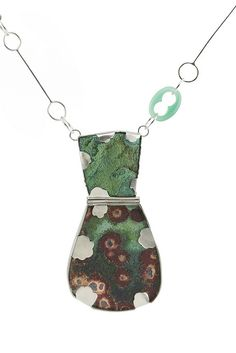 "Emily Watson   |  Necklace: Algae Bloom, 2012, Enamel, copper, silver, chrysocolla with malachite, agate, paint, 12.5"" x 2.5"" x .5"""