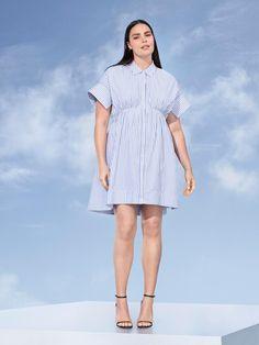 250aa788fcaf Victoria Beckham x Target Collaboration in Plus Sizes- Women s Plus Blue  Stripe Poplin Gathered Waist Dress
