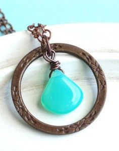 Eternity Circle Necklace - Copper and Briolette - Sea Mist