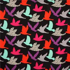 wide black bird echino poplin fabric big bird