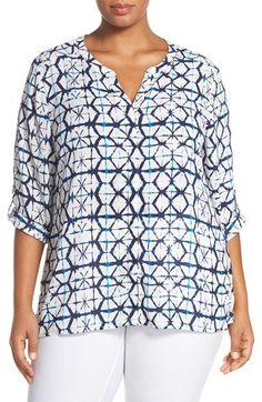 Foxcroft Tie Dye Roll Sleeve Blouse (Plus Size)