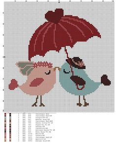 Wedding birds cross stitch.