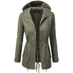 TL Women's Militray Anorak Parka Hoodie jackets with Drawstring OLIVE... ($25) ❤ liked on Polyvore featuring outerwear, jackets, parka jacket, anorak parka, pocket jacket y anorak jackets