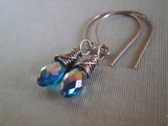 Wire Wrapped Earrings. Teal London Blue Briolette Crystal Wrapped in Antique Copper. Handmade Ear Wire with Niobium Ear Wire Option.