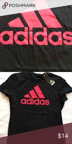 NWT adidas women's go to tee NWT classic cotton tee modern slim fit. Shows off the large adidas Badge of Sport In red lettering. Black Adidas, Cotton Tee, Adidas Women, Badge, Slim, Lettering, Best Deals, Tees, Sleeve
