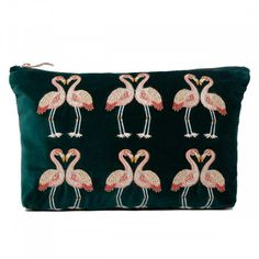 Make a statement in the gym, at work or on holiday with this Elizabeth Scarlett Flamingo Velvet Travel Pouch Wash Bag. Inspired by a trip to a lagoon in Kenya, it features an elegant pink hand-drawn 'Kissing Flamingo' design embroidered on to the luscious Green Velvet Fabric, Wash Bags, Kissing, House Colors, Flamingo, Hand Drawn, Purses And Bags, How To Draw Hands, Pouch