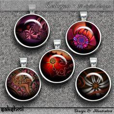 Fraktale Blumen – Digital Design - Set 2 - 20 Buttons zum Ausdrucken. 300 DPI