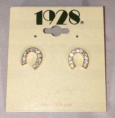 1928 Horseshoe Earrings Rhinestones Gold Studs Sparkly | eBay