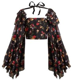 Rodarte – Square Neck Floral Print Silk Blend Blouse – Womens – Black Multi – Daily Posts for Women Black Women Fashion, Look Fashion, Womens Fashion, Fashion Tips, Fashion Design, Fashion Goth, Fashion Quiz, Gypsy Fashion, Fashion Websites
