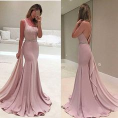 Pink Prom Dresses,chiffon Prom Gowns,Pink Prom Dresses,Long Prom Gown,Mermaid One Shoulder Prom Dress,Evening Gown,party Gown PD20181532