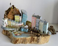 Wood sculpture * Cottages * Custom Art * Driftwood Art * Driftwood Cottage Sculpture * Wooden Cottages * Hand Made in Wales *