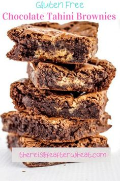 The addition of a sweet tahini swirl gives these Gluten Free Chocolate Tahini Brownies a subtle, yet deliciously exotic flavor. Best Gluten Free Desserts, Gluten Free Treats, Gluten Free Flour, Dairy Free, Gluten Free Chocolate, Vegetarian Chocolate, Chocolate Recipes, Free Summer, Tahini