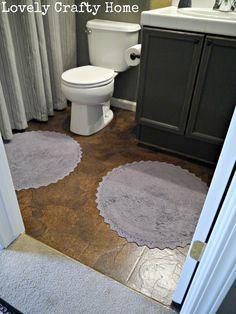 Brown Paper Floor (Dark Walnut stain) in bathroom over linoleum {Lovely Crafty Home}