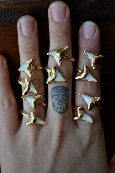 shark toothwrap, style, doubl shark, shark accessories, shark tooth ring, shark ring, shark tooth jewelry, stud earring, sharks