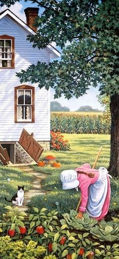 ✿Working Day✿ Farmer's daughter by John Sloane Country Art, Country Life, Country Kitchen, Art Watercolor, Naive Art, Beautiful Paintings, Farm Life, Cat Art, Garden Art
