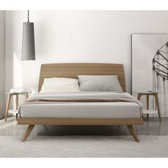 Bedroom. modern mid century natural color walnut king size platform bed. Amazing Mid Century Modern Bed Frame Ideas