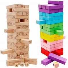 26.59$  Know more - http://aihoe.worlditems.win/all/product.php?id=32766087999 - Children Colorful Rainbow wooden dominoes toy stacking building block game baby educational Tumbling stacked tower Jenga kid
