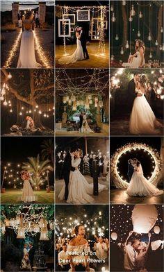 Top 20 Must See Night Wedding Photos with Lights - Rustic Wedding Ideas - Hochzeit Night Wedding Photos, Wedding Night, Wedding Photoshoot, Wedding Pics, Wedding Bells, Dream Wedding, Light Wedding, Night Photos, Outdoor Night Wedding
