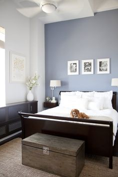 great example of how a dark bed can still make a bedroom look light