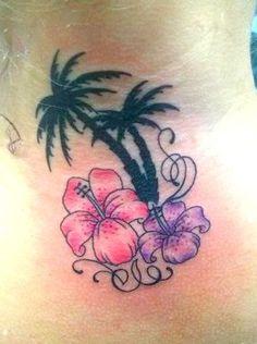 palm tree tattoos   Palm Tree Island Tattoo Flower palm tree tattoo