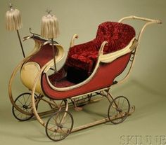 Sleigh/Carriage; Victorian, Child's, Wood Runners & Wire Spoke Wheels, Paint Decorated, 54 inch.