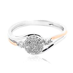 10K and Rose Gold 0.15cttww Diamond Promise Engagement Ring Swirl