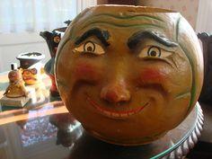 Giant Antique Halloween german Jack O Lantern.