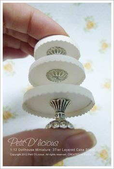It's a dollhouse miniature: 3-tiered cake stand.  I had handmade create my own cake stand with measure size approximately 2inch height out o...